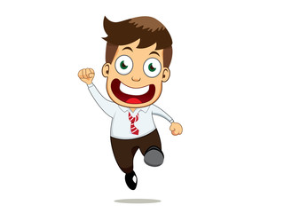 A smiling businessman with jump