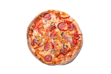 Delicious Italian pizza with pepperoni and mushrooms