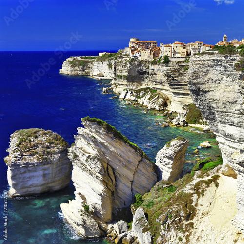 Leinwanddruck Bild Bonifacio - town on rocks, Corsica