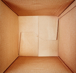 Empty cardboard box, inside view