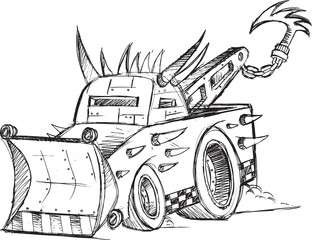 Armored Tow Truck Vehicle Sketch Vector Illustration Art