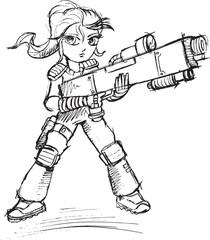 Warrior Soldier Sketch Vector Illustration Art