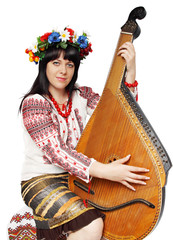 Ukrainian woman playing the bandura