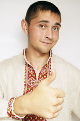 Ukrainian shows thumb up gesture
