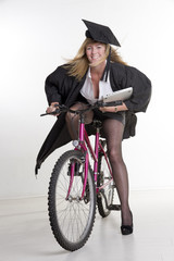Mature University student and bicycle
