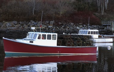 Fishing Boat With Lobster Traps