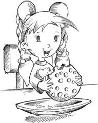 Girl Eating Cookie Sketch Vector Illustration Art