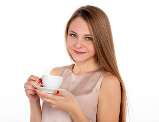 Positive attractive blonde with cup of coffee