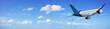 Jet cruising in a blue sky