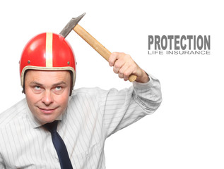 Man in motorcycle helmet with hammer. Insurance concept.