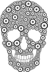 Vector skull created from bike wheels