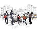 Fototapety Series of street views with musicians
