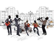 Serie de vistas a la calle con los músicos