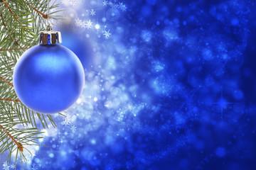 Christmas card with blue ball.