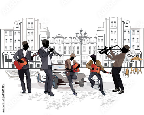 Series of street views with musicians - 71057523