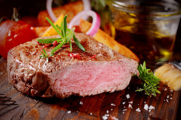 Succulent tender rare beef steak