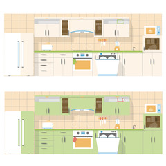 Kitchen overlooking the front, in a flat layout design