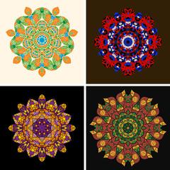 Indian ornament, kaleidoscopic floral pattern, mandala. Set of