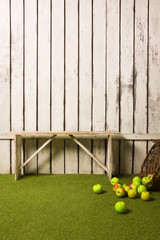 bench and apples