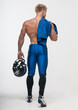 canvas print picture - Good-looking model in american football uniform