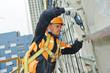 builder at facade construction work - 71061306