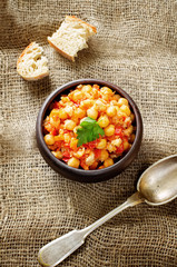 chickpeas with vegetables and pangasius