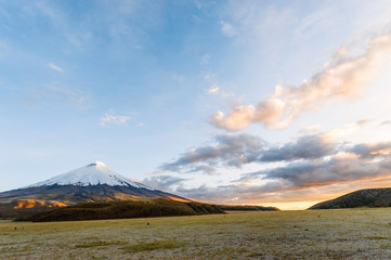 Sunset on the mighty Cotopaxi Volcano