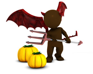 3D Morph Man Daemon with pumpkins