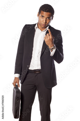 Poster serious african businessman with a beckoning gesture