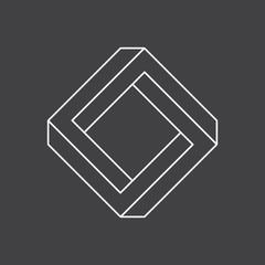 Impossible shape, penrose square, vector illustration