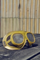 Filtered picture of a vintage safety glasses