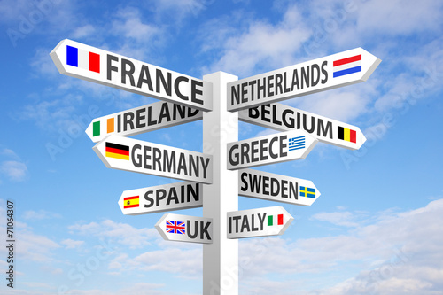 canvas print picture Europe Signpost