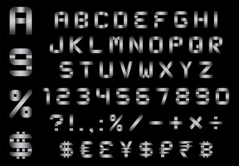 alphabet, numbers, currency and symbols pack - metal font