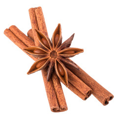 cinnamon stick and star anise spice isolated on white background
