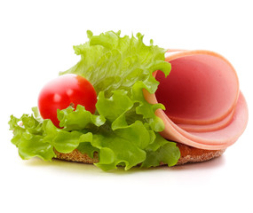 sandwich with pork ham on white background  cutout