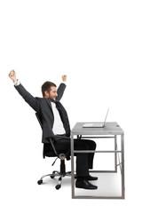 successful businessman raising hands up
