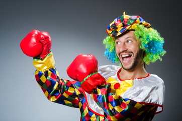 Funny clown with boxing gloves