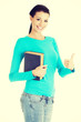 Attractive student woman gesturing OK,