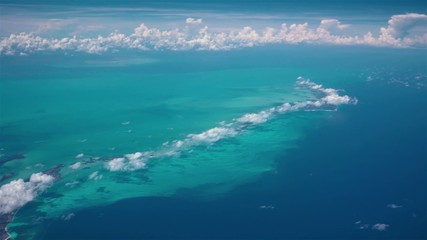 View of Cayo Largo island, Cuba, sea from airplane