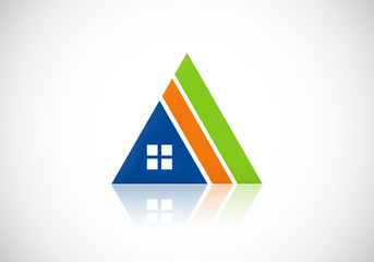 house triangle construction abstract vector logo