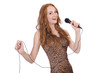 Woman singing isolated on the white