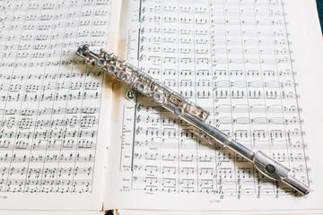 strumento musicale adagiato su spartito