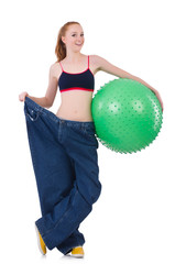Woman in weight loss concept isolated on white