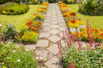 Garden landscaping with a path
