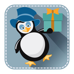 Flat avatar with penguin in blue hat and gift box