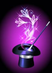 Conjurer hat and transparent flowers