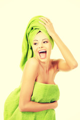 Beautiful happy woman after bath