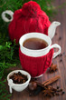 Hot winter tea with spices, selective focus
