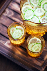 Cucumber, lemon and ginger lemonade, selective focus