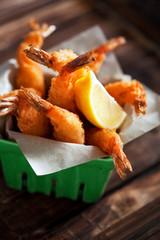 Japanese Cuisine - Tempura Shrimps, selective focus